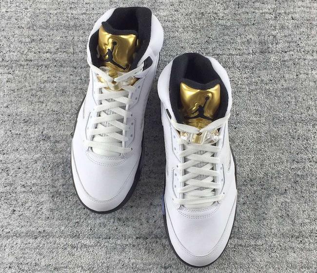 Jordan Et Air Cher 5 Basket homme Jodan Blanche Doré Nike Pas mnON0v8w